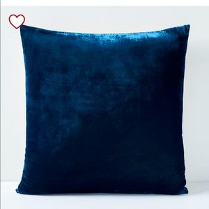 West Elm velvet throw pillow in regal blue